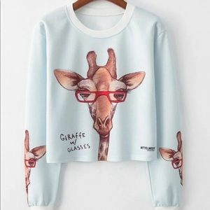 Giraffe and letter pullover